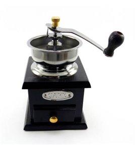 Mini Old Style Wood Metal Coffee Bean Grinder
